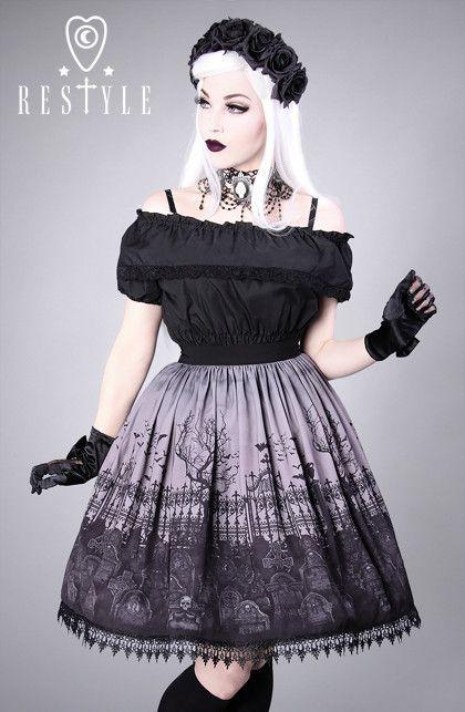 "Spódnica ""CEMETERY GRAY"" Gotycka spódnica z nadrukiem, cmentarz"