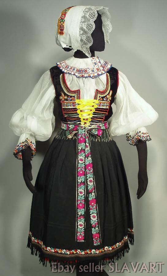 SLOVAK FOLK COSTUME rare embroidered blouse vest apron skirt bonnet KROJ Castkov