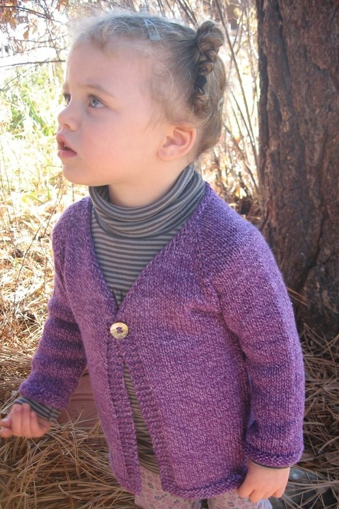 Knitting Pattern Cardigan 4 Year Old : Knitting Pure and Simple--Diane Soucy--Girls One Button Cardigan (Top Do...