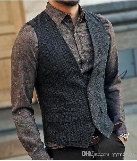 Dark Gray Groom Vests 2019 Wool Herringbone Tweed Vests Custom Made Groomsmen Vest Slim Fit Men's Suit Vest Prom Wedding Vest