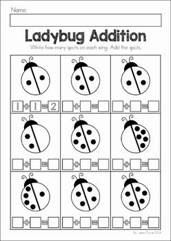 Spring Preschool No Prep Worksheets & Activities. A page from the unit: ladybug addition