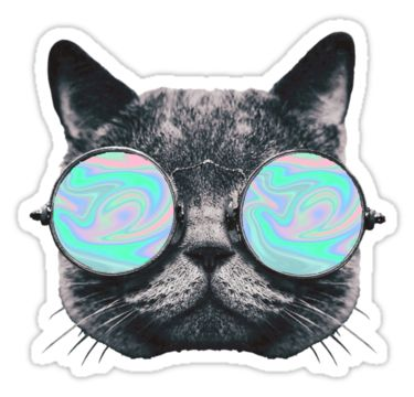 """Cat Eye Hologram"" Stickers by Kt Farello Designs 