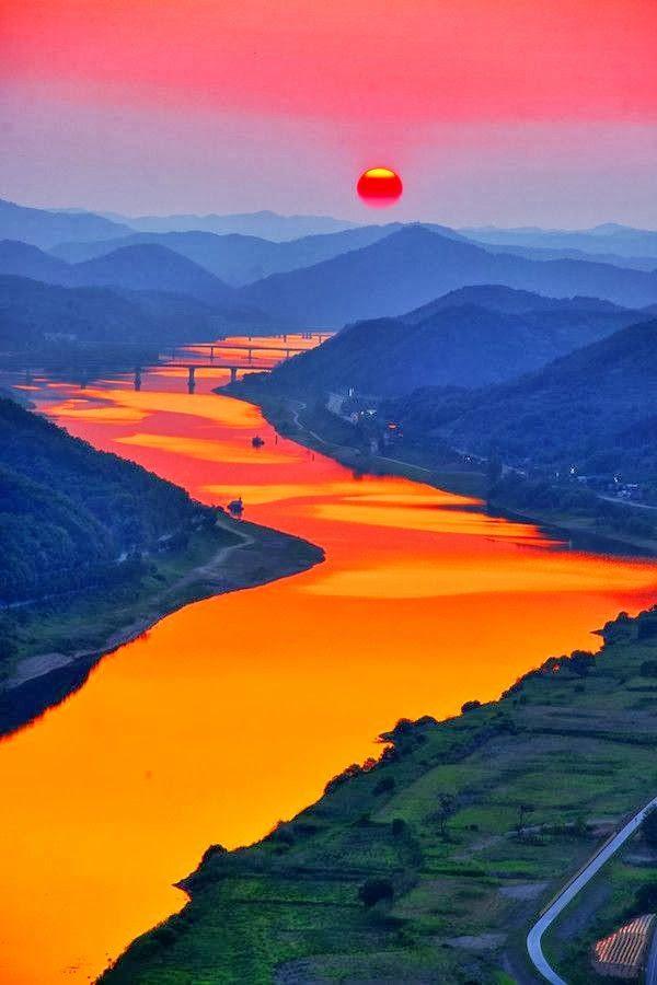 Sunset in Bridge, Korea