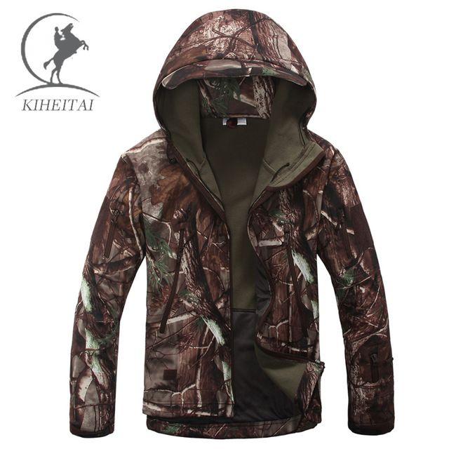 KIHEITAI Camouflage Militaire Vestes Hommes TAD Softshell Tactique Veste Imperméable Coupe-Vent Manteaux Armée Vêtements Capuche Coupe-Vent