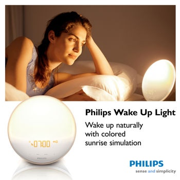 Philips Wake-up Light. Features: Colored sunrise simulation, choice of 5 different wake up sounds, and 20 brightness settings