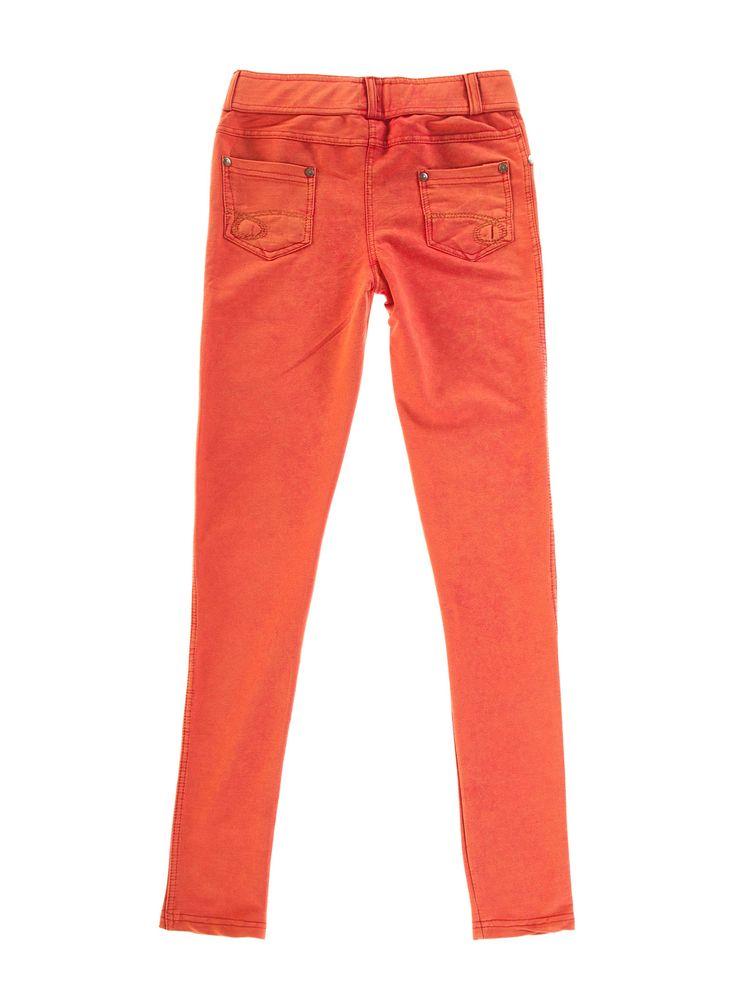 Spodnie damskie rurki z przetarciami długie - XSC0931 - odzież damska - txm24.pl pomarańczowe
