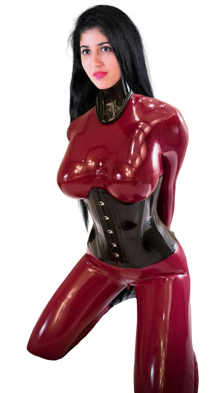 Latex catsuits photos in latex bondage and sexy of a very hot latin girl in red costume