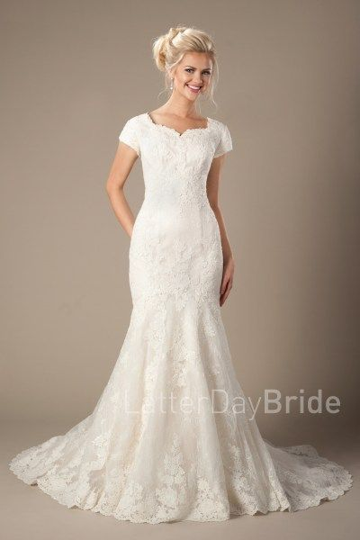 lds modest wedding dresses with lace and mermaid fit, the Galloway at LatterDayBride