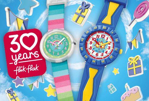 Celebra los #30años de Flik Flak con la colección #FlikFlak #BirthdayParty, una colección especial para este aniversario, ¡ya son 3 décadas ayudando a los más pequeños a saber la hora! Seguro que estos relojes encantarán a los más pequeños como regalo de #Pascua: http://www.todo-relojes.com/marca.asp?modelo=894&marca=124 #todorelojes #relojesparaniños
