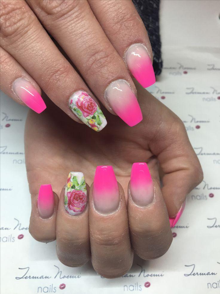 Ombre nails, pink nails, nail tattoo, love nails! 💗
