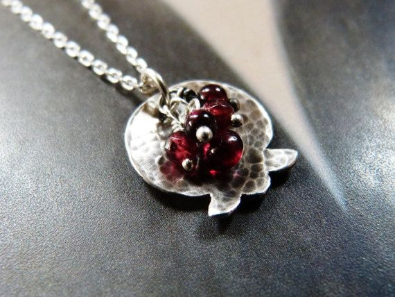 Pomegranate necklace garnet silver pendant handmade by Mirma