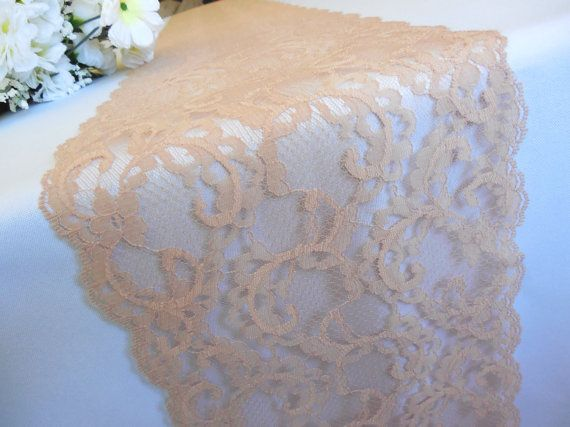 Lace table runner wedding table runner nude by YourWeddingSupply, $8.00