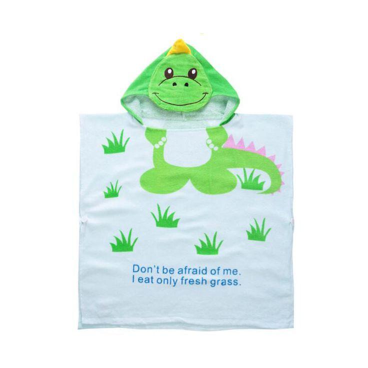 Cartoon Style Dinosaur Bathrobe Children's Swimming Towels 100% Cotton Hooded Baby Bath Towel Kids Beach Towel Poncho