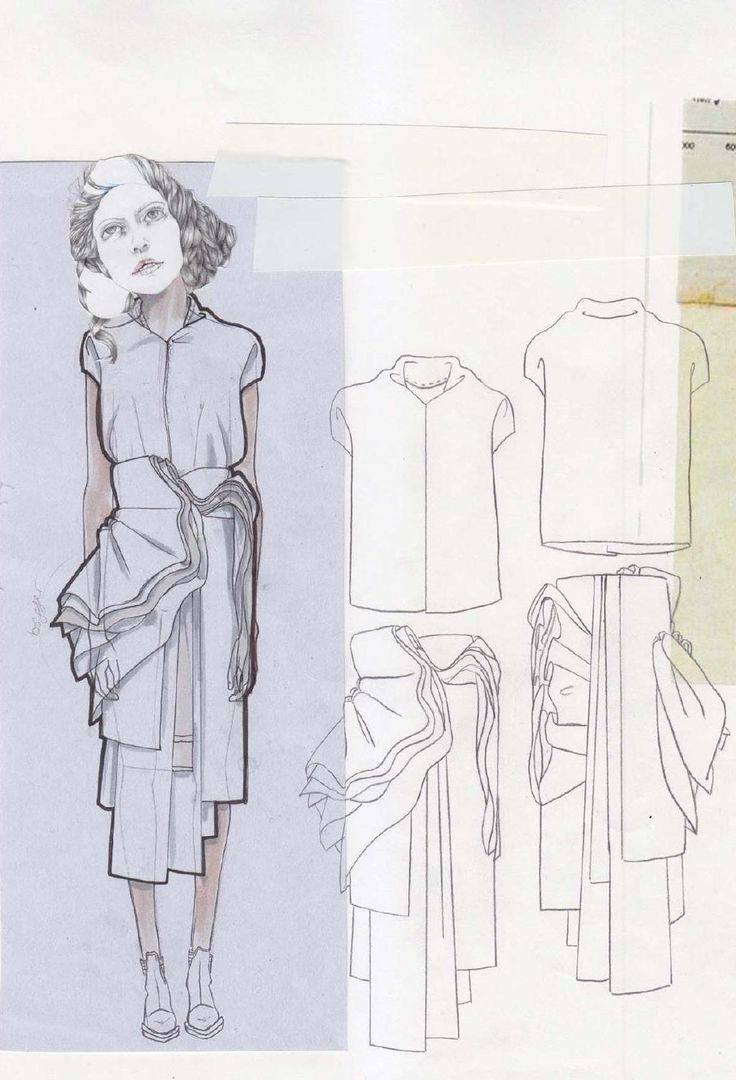 Fashion Sketchbook - draped skirt designs, fashion drawings, fashion portfolio // Valeska Collado