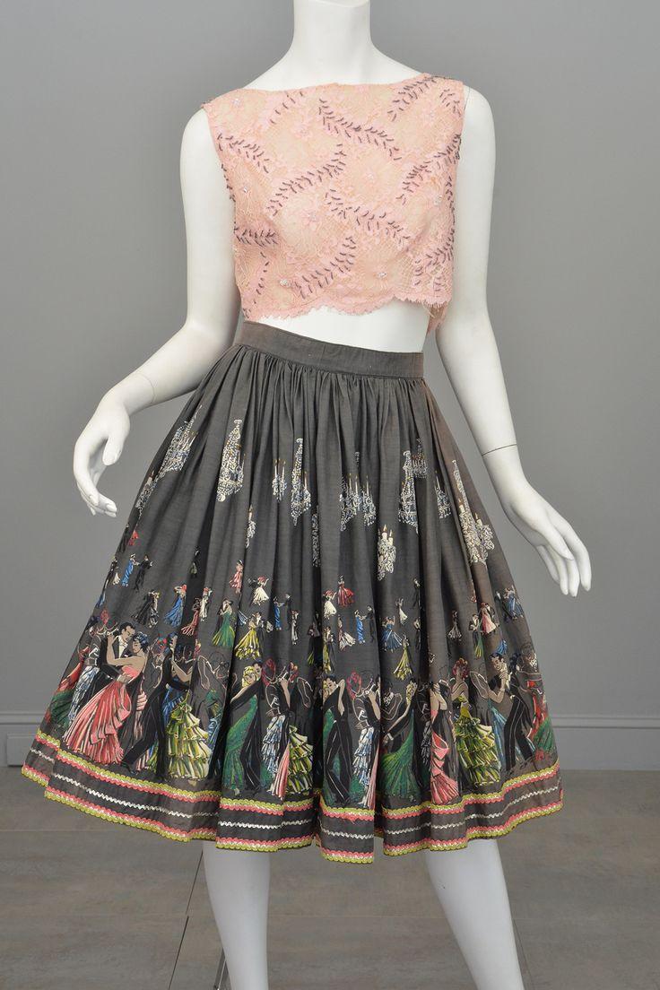 1950s Novelty Print Skirt Ballroom Scene Vintage Skirt Pinup