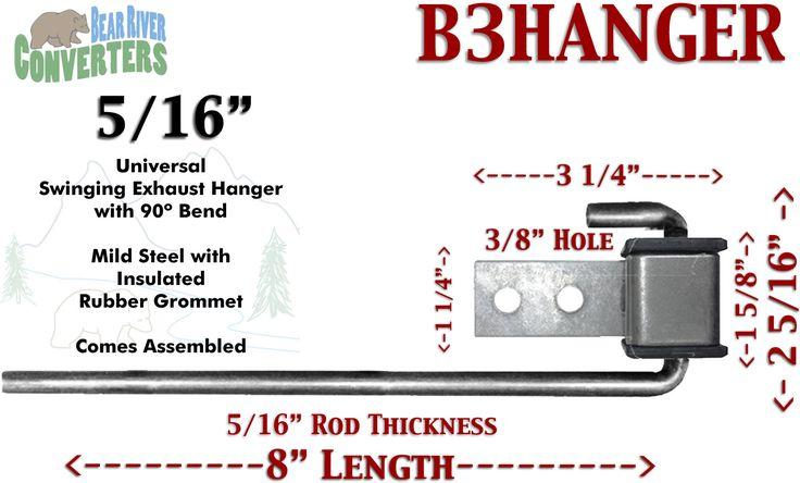 "B3HANGER Exhaust Hanger Southern J Hook 5/16"" 90º Rod 8"" w/ Rubber Grommet"
