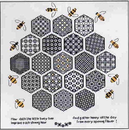 STB06.jpg (51496 bytes) Honeycomb Sampler - The Blackwork Collection / Meineck Design Group