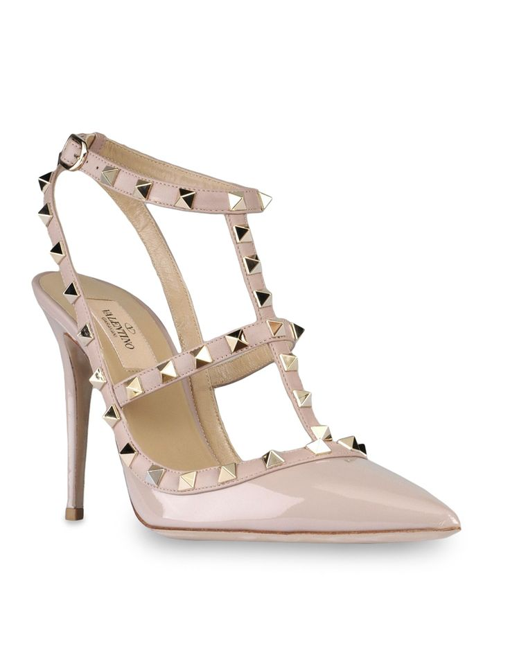 VALENTINO Rockstud sling back in light pink patent leather and napa. Platinum finish stud details. Two adjustable straps. Heel 100 mm/4''. Made in Italy.