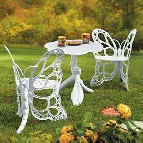 Victorian Alice in Wonderland Butterfly Furniture Set-LOVE is it sad that i want this just for the butterfly chairs WOULD HSVE TO PAINT THE CHAIRS MULTI-COLORS!