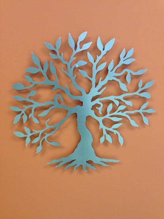 Silver Tree Of Life With Leaves 24 Quot Industrial Metal Wall