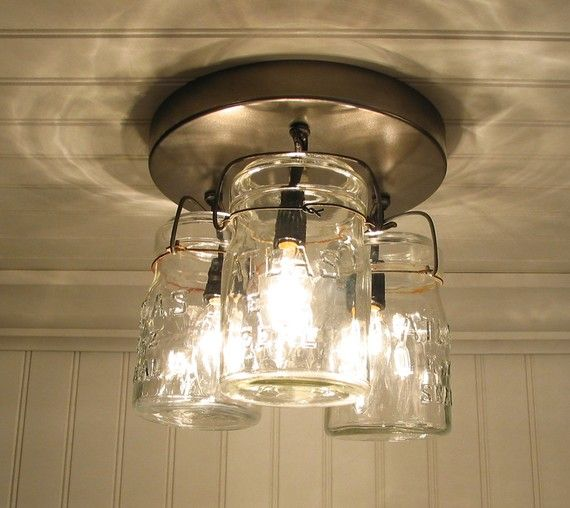 canning jars into light fixture-Got this for my new bathroom in blue!
