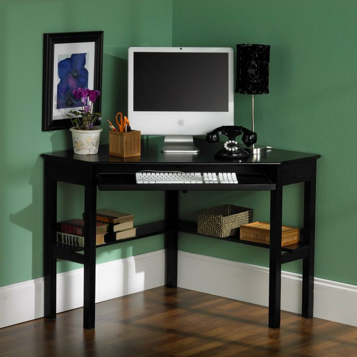 Wood Corner Writing Computer Desk For Home Office Black Finish No House Is Complete