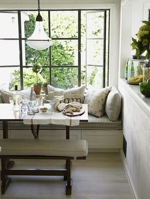 Easy access from 2 points of entry/exit make this banquette seating welcoming as well as cozy