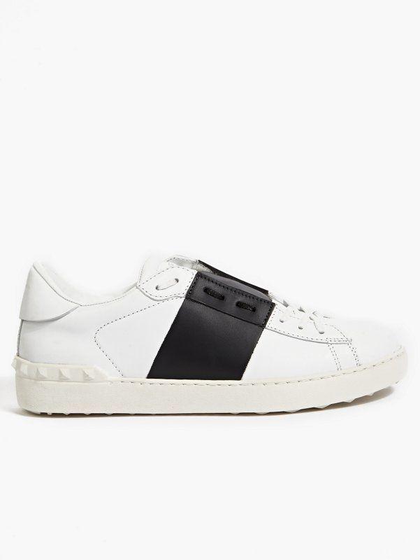 Valentino Men's Colour-Block Stripe Leather Sneakers   oki-ni