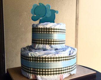 3 tier Boy couche-culotte gâteau bébé douche par LauraKashiwase