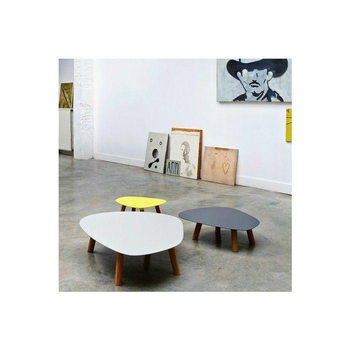 Gekleurde salontafel, alleen of als set, in eikenhout en metaal