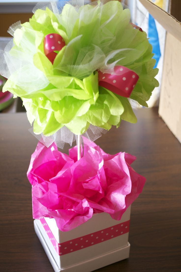 Add tissue paper to blue flower pots to fill empty spaces...add tissue/tulle poms as centerpice