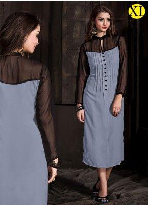 Black And Gray Georgette Designer Kurti |R-43