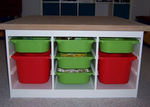 ikea hack - trofast storage topped w/ table topper for lego station