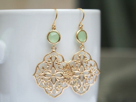 Hey, I found this really awesome Etsy listing at https://www.etsy.com/listing/158666790/gold-mint-earrings-mint-green