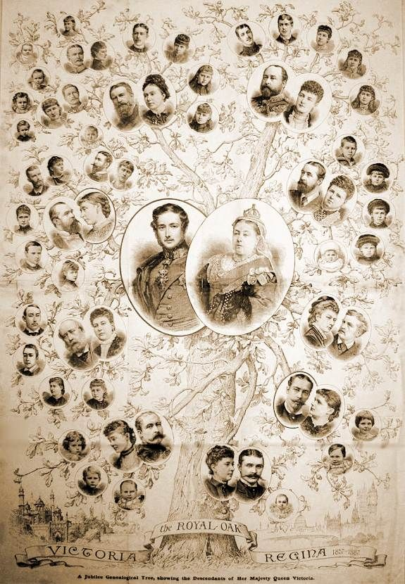 Family Tree of Queen Victoria (Alexandrina Victoria) (24 May 1819-22 Jan 1901) UK & husband Prince Albert (Albert Francis Charles Augustus Emmanuel) (26 Aug 1819-14 Dec 1861) Saxe-Coburg & Gotha, Germany by unknown artist.