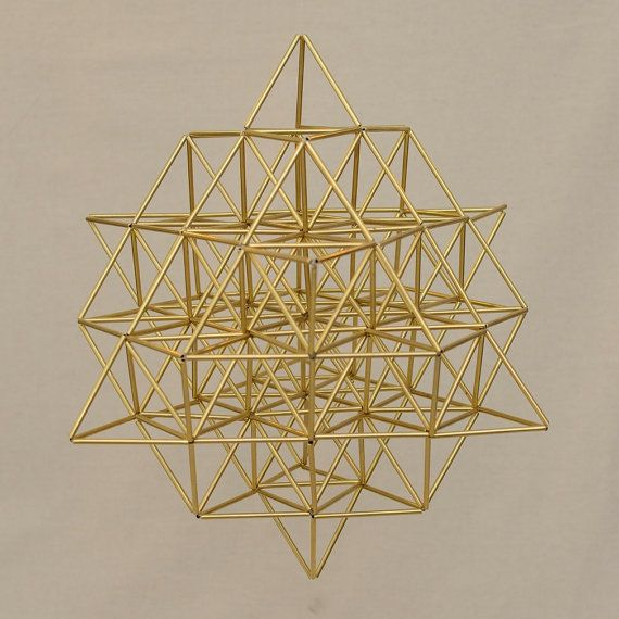 Large FLOWER OF LIFE 3D by Nassim Haramein, 64 Star Tetrahedron, Himmeli Hanging Brass Mobile Home Decor