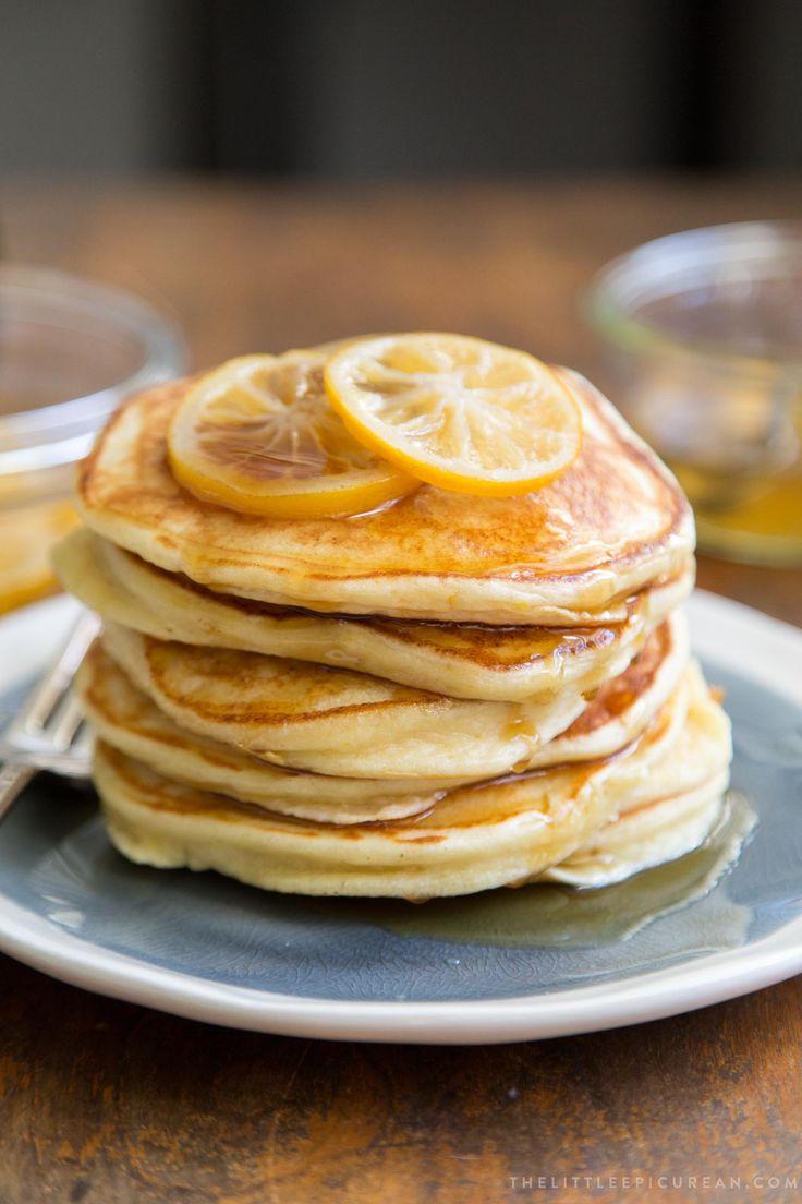 Meyer Lemon Ricotta Pancakes with Candied Meyer Lemon Slices