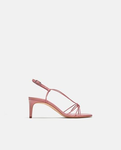 fda00fc3ce2994 Image 2 of LEATHER STRAPPY HIGH-HEEL SANDALS from Zara