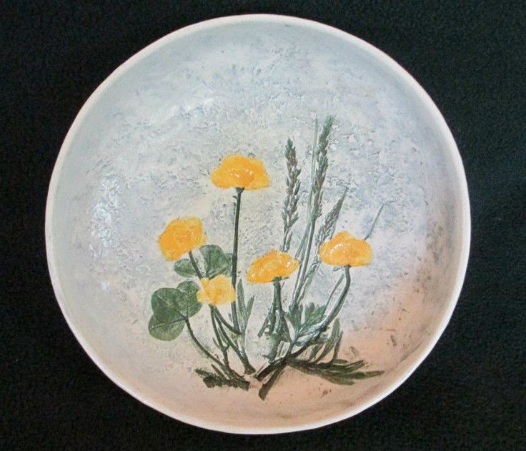 "Salt Marsh Pottery ""Buttercup"" Yellow Wildflower Hanging Bowl- Dartmouth, MA #SaltMarshPottery"