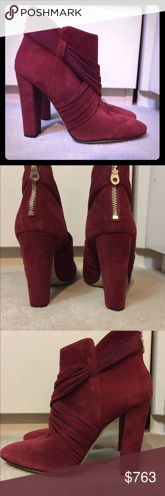 Oscar de la Renta wine red ankle booties. NWT Oscar de la Renta wine red ankle booties. NWT. Size 10 but will fit 9.5 so that's what I'm listing as. Was display so some scuffing on bottom as seen, otherwise brand new! Oscar de la Renta Shoes Ankle Boots & Booties