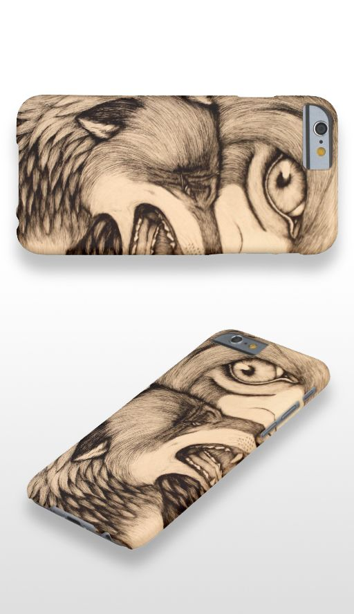 """You Promised "" Black and white illustrated wolf pair iPhone 6 Case"