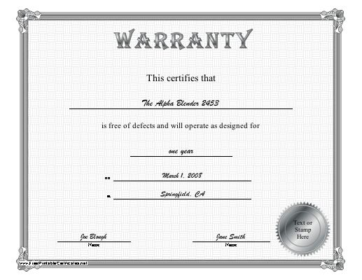 A Silver Bordered Certificate Of Warranty Certifying That