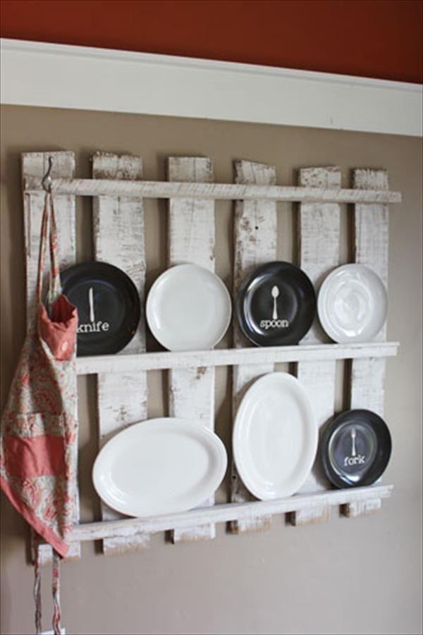 upcycled pallet kitchen utensil rack