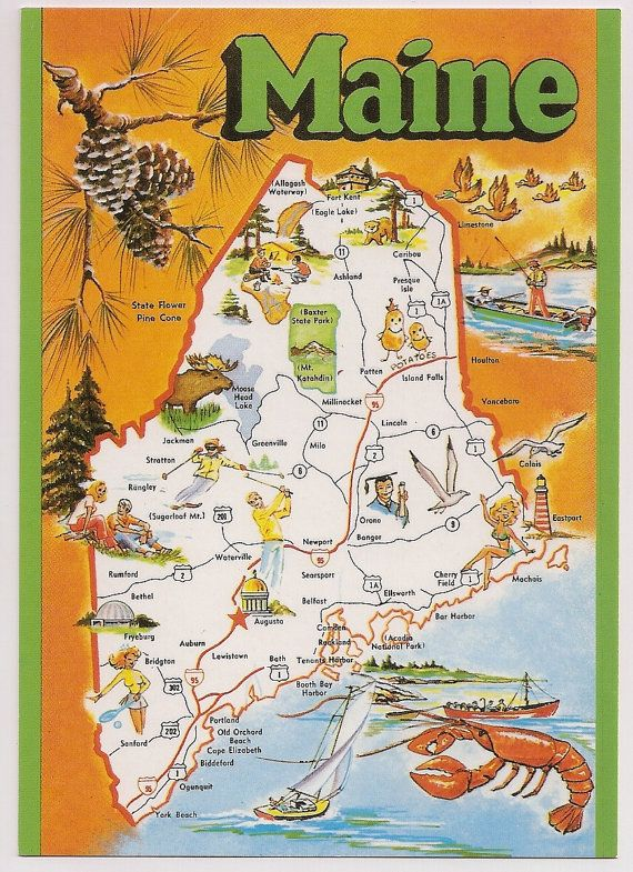 {Maine Tourist Map Vintage Chrome Postcard Souvenir with Lobster – Maine Travel Map