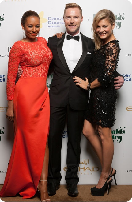 Ronan Keating with Mel.B and Natalie Bassingthwaigte, also showing their support for Cancer Council
