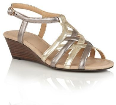 Lotus Pewter light gold strappy 'Ambra' wedge sandals