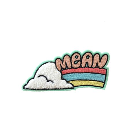 Cute and mean as hell, that's you. Pastel pink and neons mix on a felt patch with a super fluffy chenille cloud for a positively 1970's style patch! Backed with