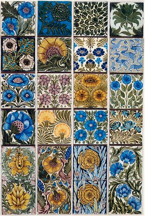 selection of tiles by William De Morgan