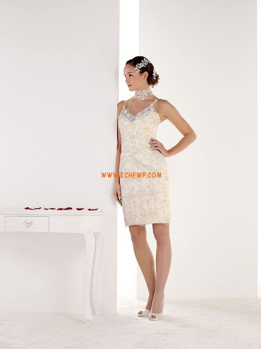 Corto/Mini Borde Festoneado Encaje Vestidos de Novia 2013