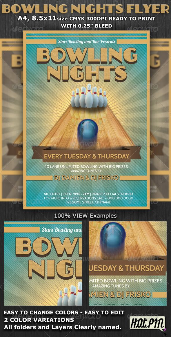 Bowling Event Party Flyer Template | Psd Flyer Templates, Party